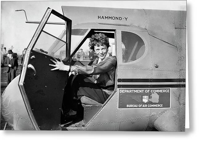 Amelia Earhart Greeting Card by Library Of Congress