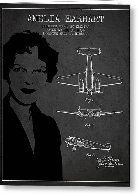 Amelia Earhart Lockheed Airplane Patent From 1934 - Dark Greeting Card by Aged Pixel