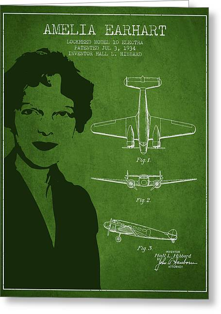 Amelia Earhart Lockheed Airplane Patent From 1934 - Green Greeting Card by Aged Pixel