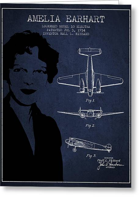 Amelia Earhart Lockheed Airplane Patent From 1934 - Navy Blue Greeting Card by Aged Pixel