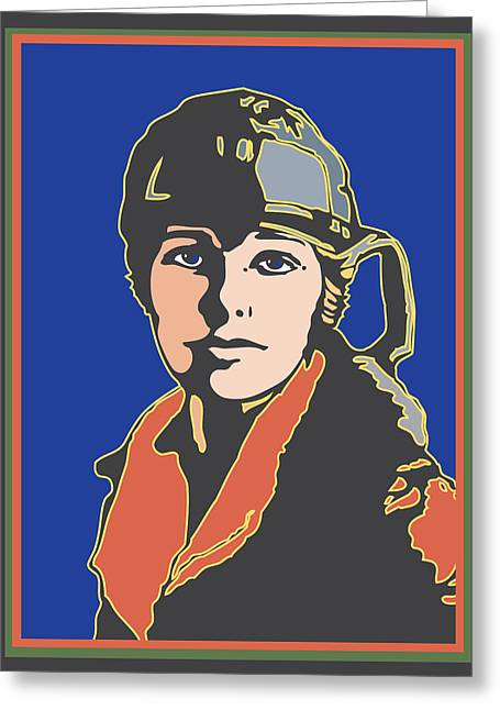 Amelia Earhart Portrait Greeting Card