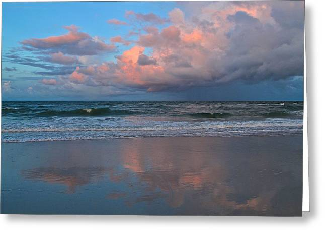 Greeting Card featuring the photograph Amelia's Sunset by Paula Porterfield-Izzo