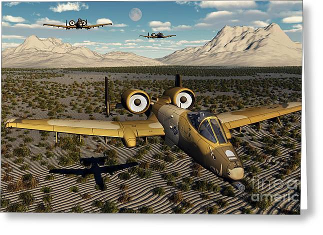 American A-10 Thunderbolts Flying Greeting Card by Mark Stevenson