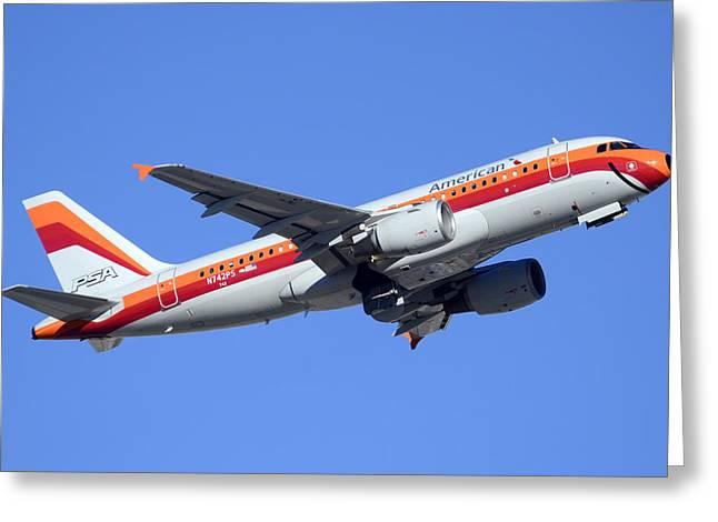 American Airbus A319-112 N742ps Psa Legacy Phoenix Sky Harbor December 24 2014  Greeting Card by Brian Lockett