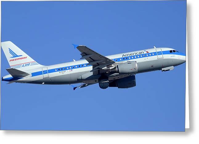 American Airbus A319-112 N744p Piedmont Pacemaker Phoenix Sky Harbor December 22 2014 Greeting Card by Brian Lockett