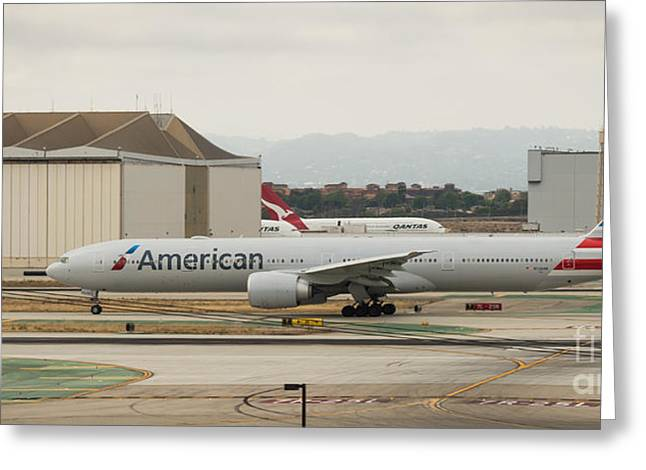 American Airliner On Runway At Lax In May 2014 Greeting Card
