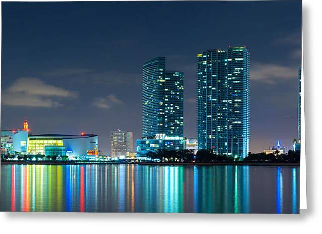 American Airlines Arena And Condominiums Greeting Card by Carsten Reisinger