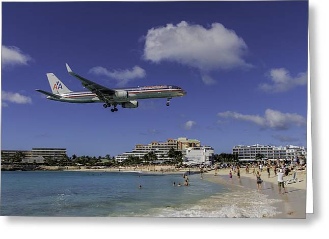 American Airlines At St. Maarten Greeting Card by David Gleeson