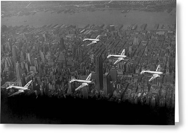 American Airlines Over Nyc Greeting Card by Underwood Archives