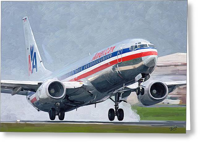 Greeting Card featuring the painting American Airlines Taking Off by Nop Briex