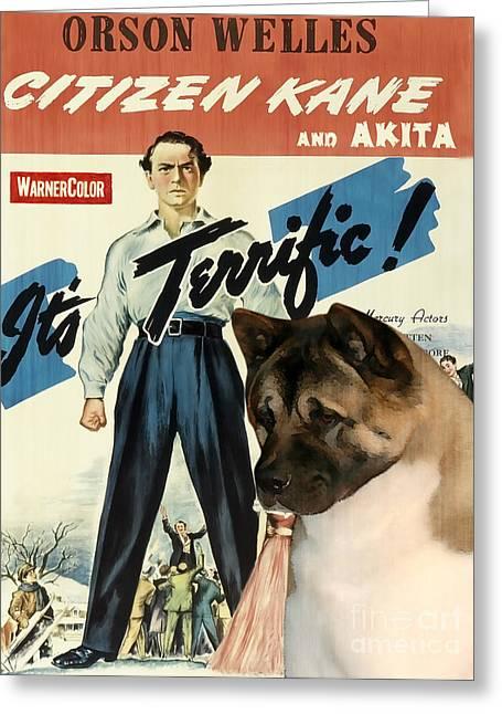 American Akita Art Canvas Print - Citizen Kane Movie Poster Greeting Card by Sandra Sij