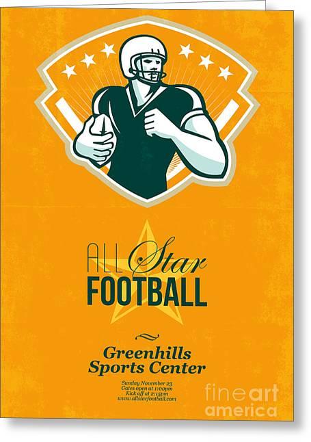 American All Star Football Retro Poster Greeting Card by Aloysius Patrimonio
