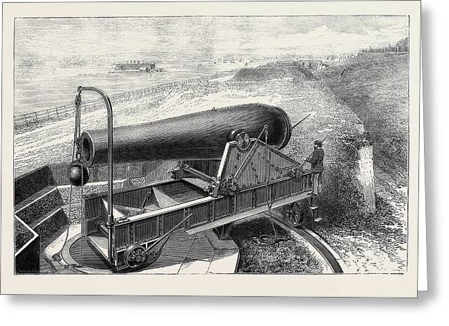 American Artillery The New 20 Inch Rodman Gun On Fort Greeting Card by American School