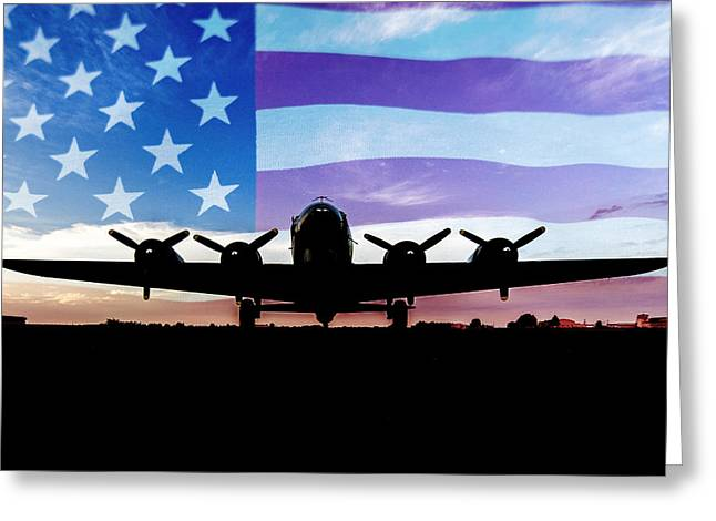 American B-17 Flying Fortress Greeting Card by Terry DeLuco
