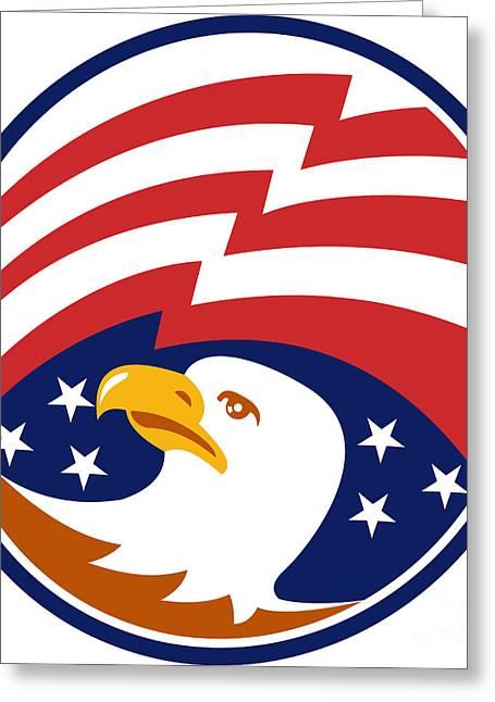 American Bald Eagle With Flag Greeting Card by Aloysius Patrimonio