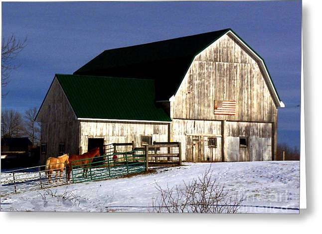 American Barn Greeting Card by Desiree Paquette