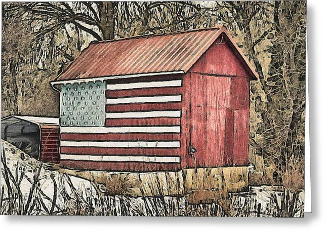 American Barn Greeting Card by Trish Tritz