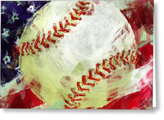 American Baseball Abstract Greeting Card by David G Paul