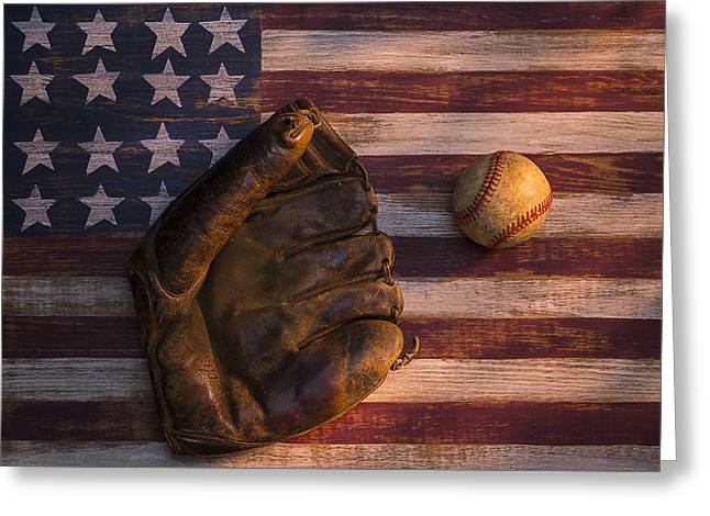 American Baseball Greeting Card by Garry Gay