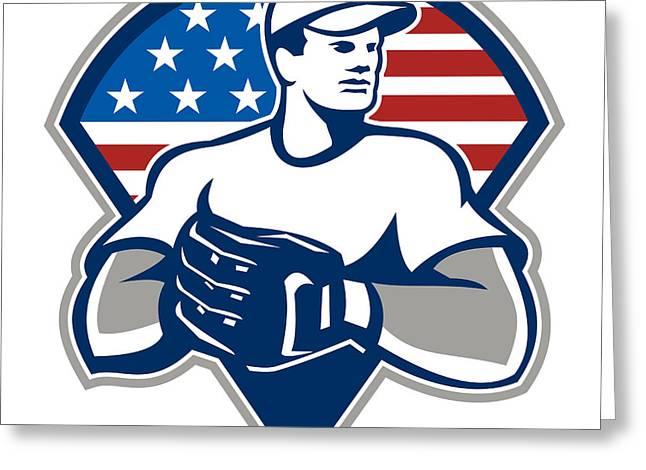 American Baseball Pitcher Gloves Retro Greeting Card by Aloysius Patrimonio