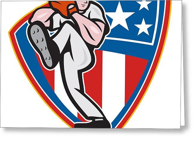 American Baseball Pitcher Shield Greeting Card by Aloysius Patrimonio