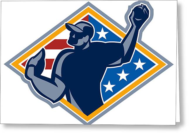 American Baseball Pitcher Throw Ball Retro Greeting Card by Aloysius Patrimonio