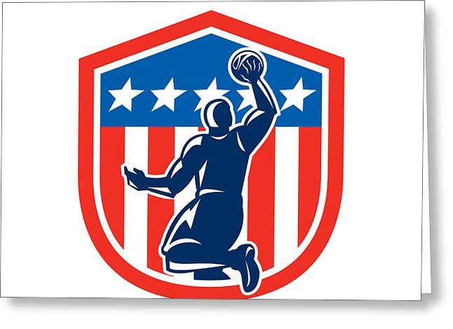 American Basketball Player Dunk Rear Shield Retro Greeting Card
