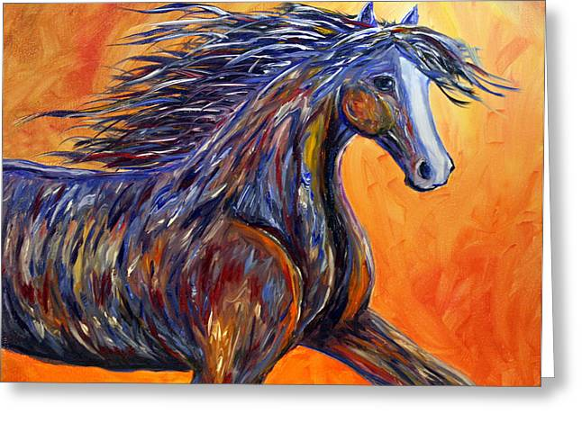 Greeting Card featuring the painting American Beauty Abstract Horse Painting by Jennifer Godshalk