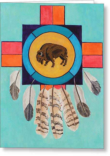 American Bison Dreamcatcher Greeting Card