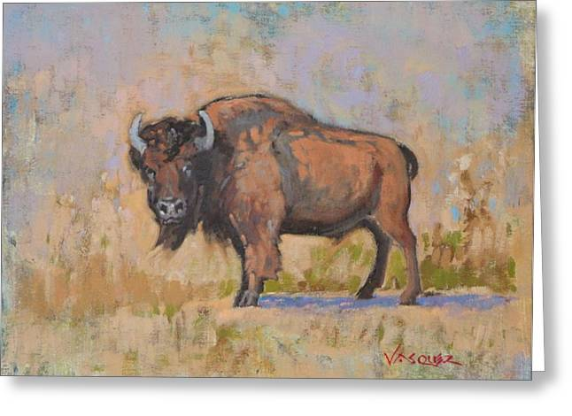 American Bison Greeting Card by Sal Vasquez