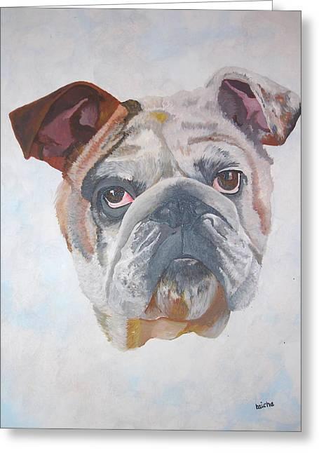 Greeting Card featuring the painting American Bulldog Pet Portrait by Tracey Harrington-Simpson