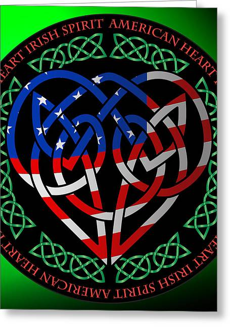 Greeting Card featuring the digital art American Celtic Heart by Ireland Calling