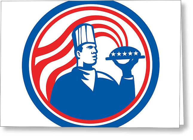 American Chef Cook Serving Food Platter Retro Greeting Card