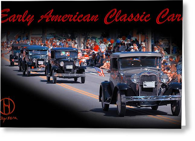 American Classic Cars Poster Print Greeting Card by Dapixara Art