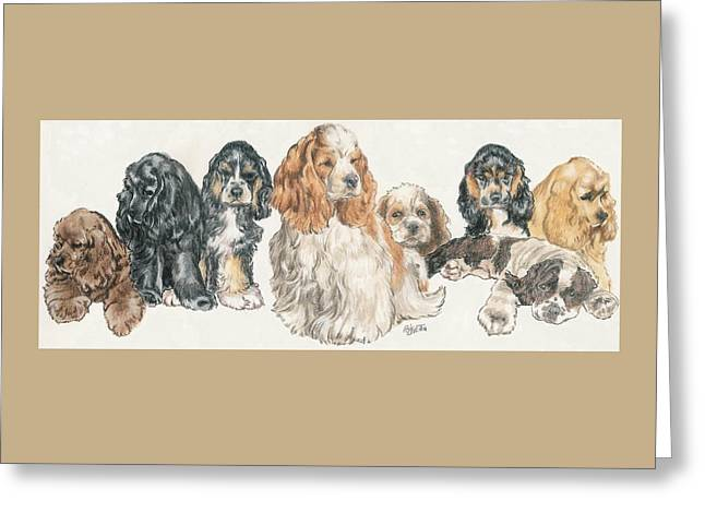 American Cocker Spaniel Puppies Greeting Card