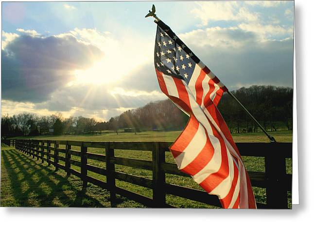 American Country Greeting Card by Mary Lawson