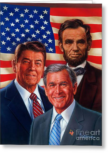 President Prints Greeting Cards - American Courage Greeting Card by Dick Bobnick