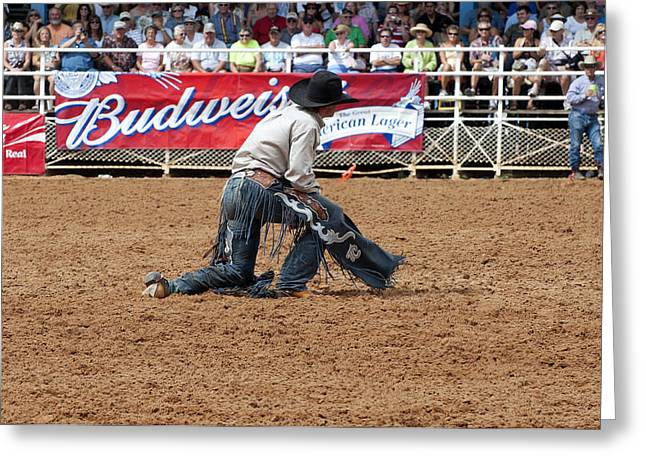 American Cowboy Thrown From A  Bucking Rodeo Bronc Greeting Card
