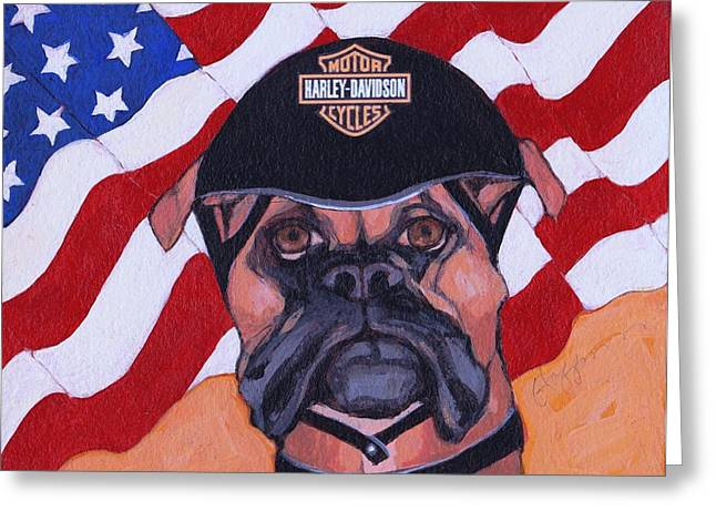 American Dawg Greeting Card by Christina Hoffman