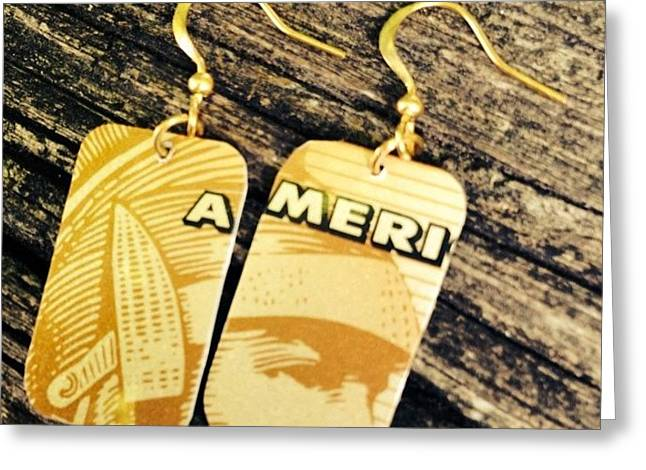 American Express Ooak Earrings Designed Greeting Card by Marianna Mills