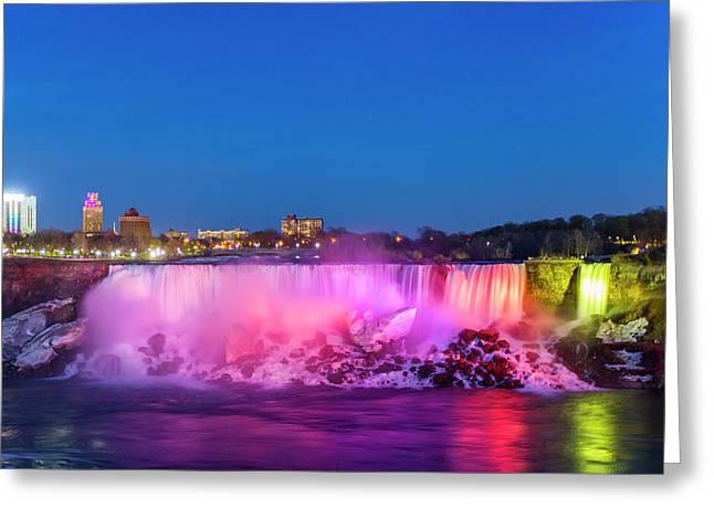 American Falls Illuminated At Dusk Greeting Card