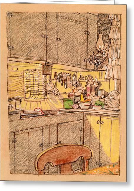 American Farmhouse Kitchen Greeting Card