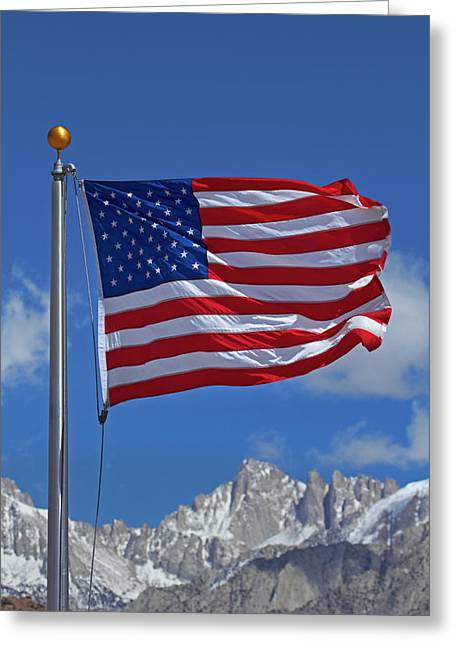 American Flag And Snow On Sierra Nevada Greeting Card by David Wall