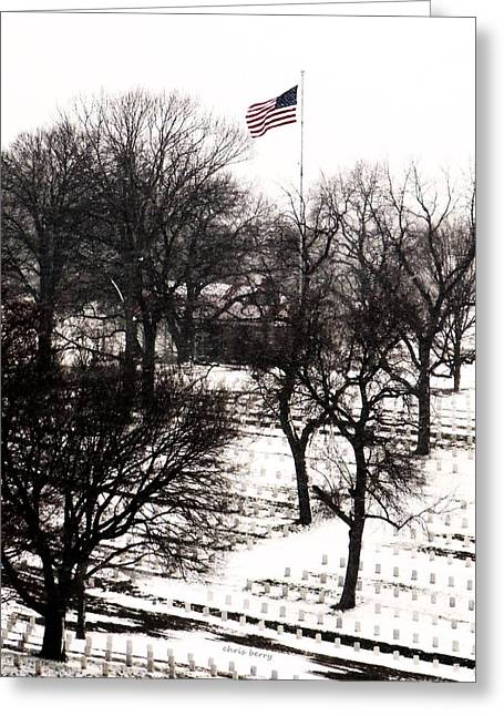 American Flag At Leavenworth National Cemetery  Greeting Card by Chris Berry