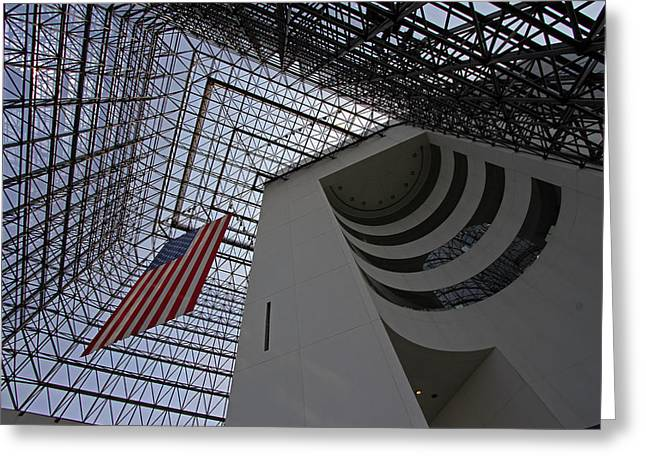 American Flag At The Jfk Library Greeting Card by Juergen Roth