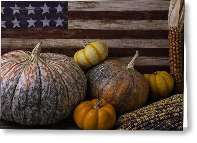 American Flag Autumn Still Life Greeting Card by Garry Gay