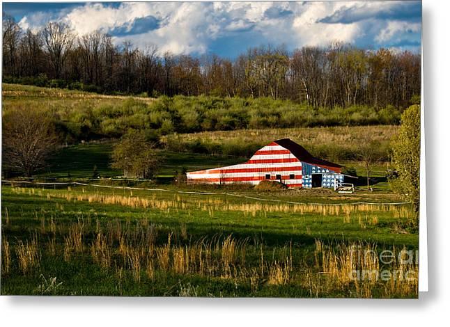 American Flag Barn Greeting Card by Amy Cicconi