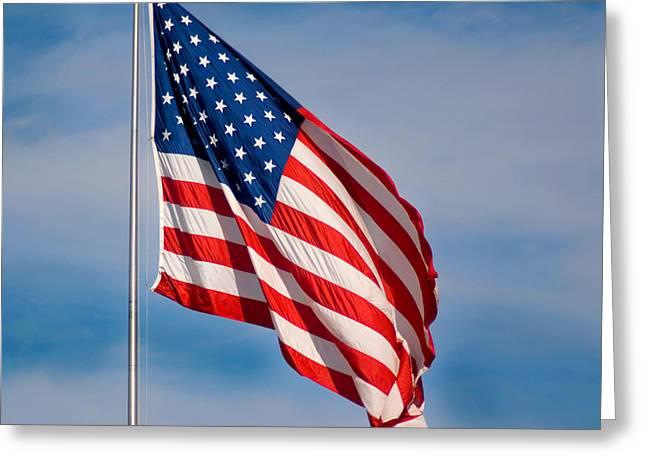 American Flag Greeting Card by Benjamin Reed