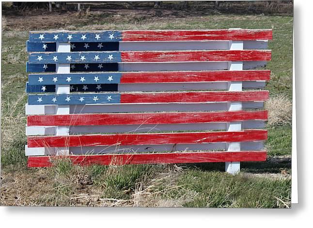 Greeting Card featuring the photograph American Flag Country Style by Sylvia Thornton