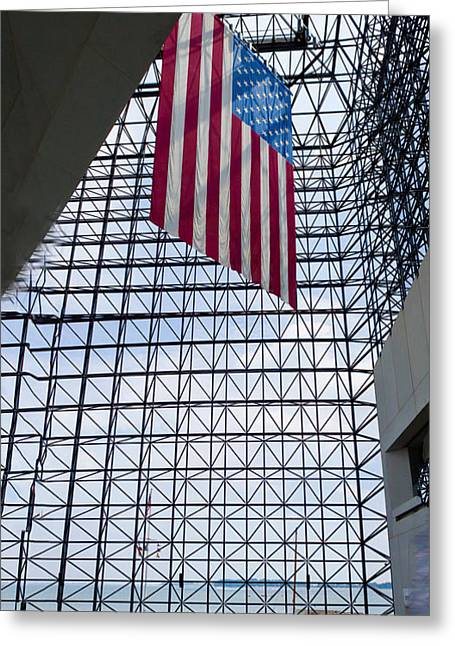 American Flag In Kennedy Library Greeting Card